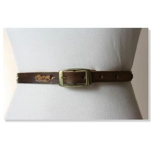 Vtg 70s Floral Tooled Hippie Leather Belt FAYE M/L